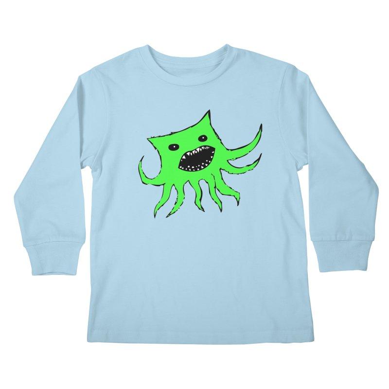 Green Monster Guy Kids Longsleeve T-Shirt by jonathanleebyrd's Artist Shop