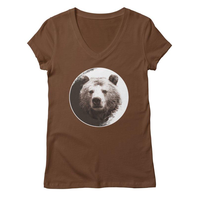 Grizzly Bear Women's Regular V-Neck by Jonathan Wilson