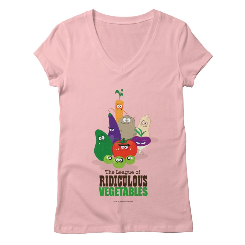 The League of Ridiculous Vegetables Women's Regular V-Neck by Jonathan Wilson