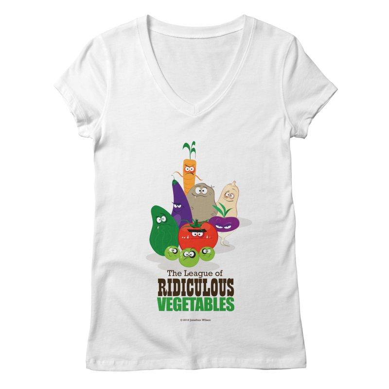 The League of Ridiculous Vegetables Women's Regular V-Neck by Jonathan Wilson