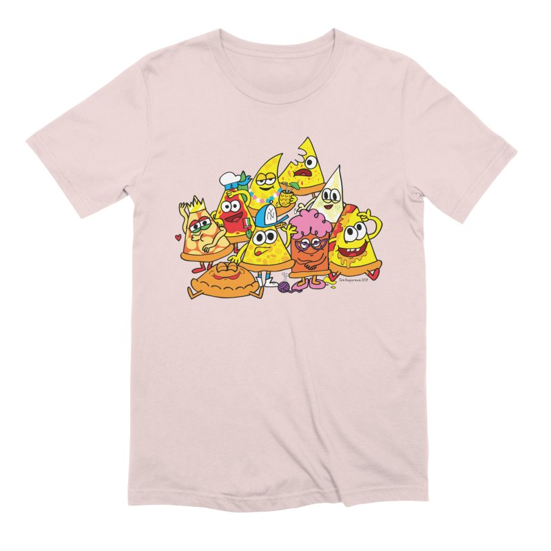 Pizza gang Men's Extra Soft T-Shirt by Jon Burgerman's Artist Shop