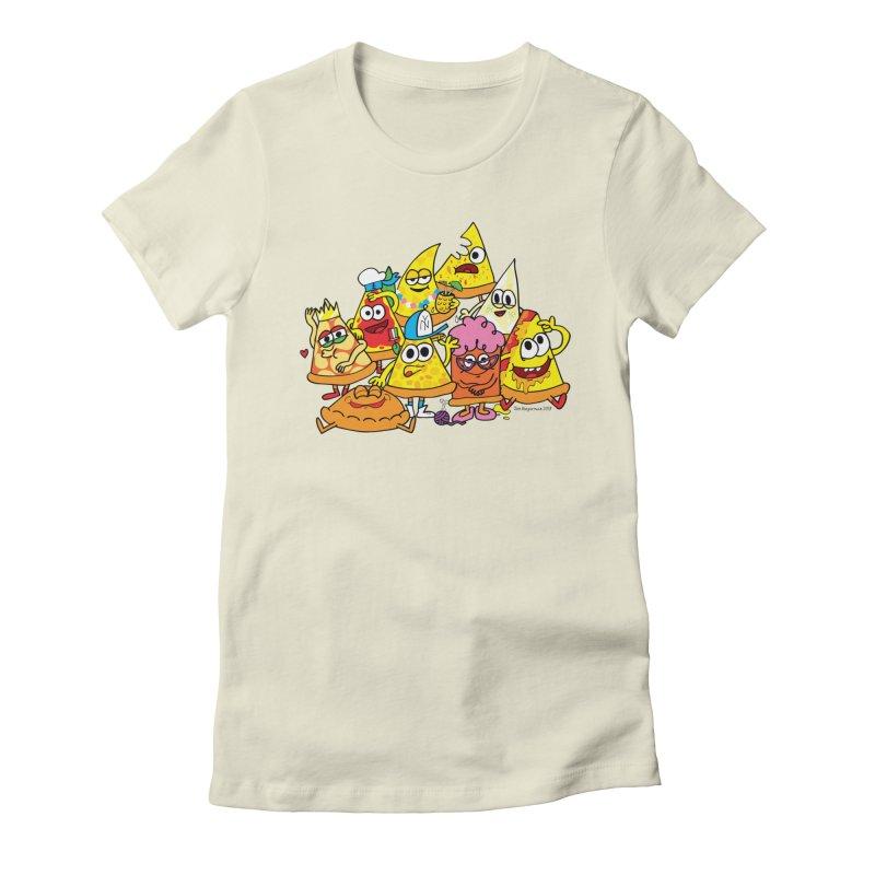 Pizza gang Women's Fitted T-Shirt by Jon Burgerman's Artist Shop