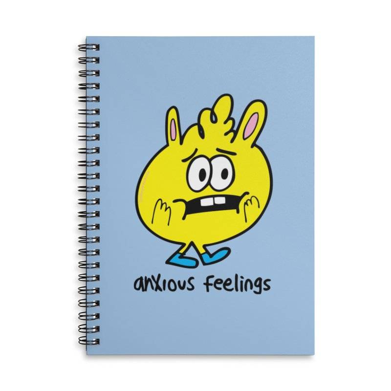 Anxious Feelings Accessories Lined Spiral Notebook by Jon Burgerman's Artist Shop