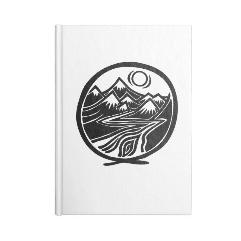 Natural Calming - Black Print Accessories Lined Journal Notebook by jon cooney's print shop