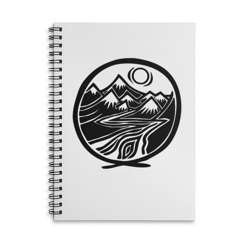 Natural Calming - Black Print Accessories Notebook by jon cooney's print shop