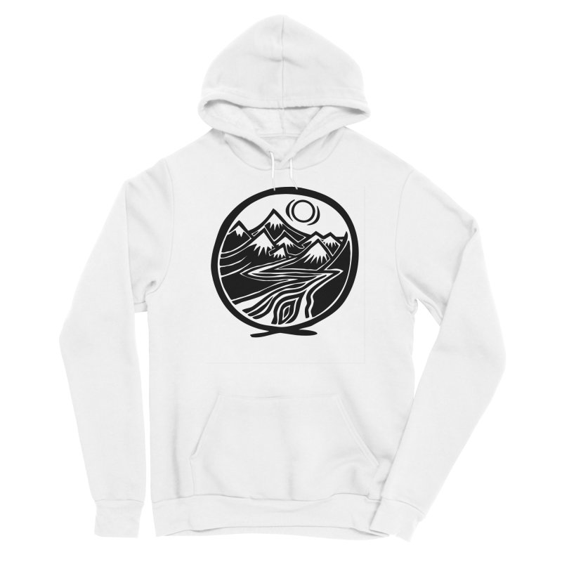Natural Calming - Black Print Men's Sponge Fleece Pullover Hoody by jon cooney's print shop