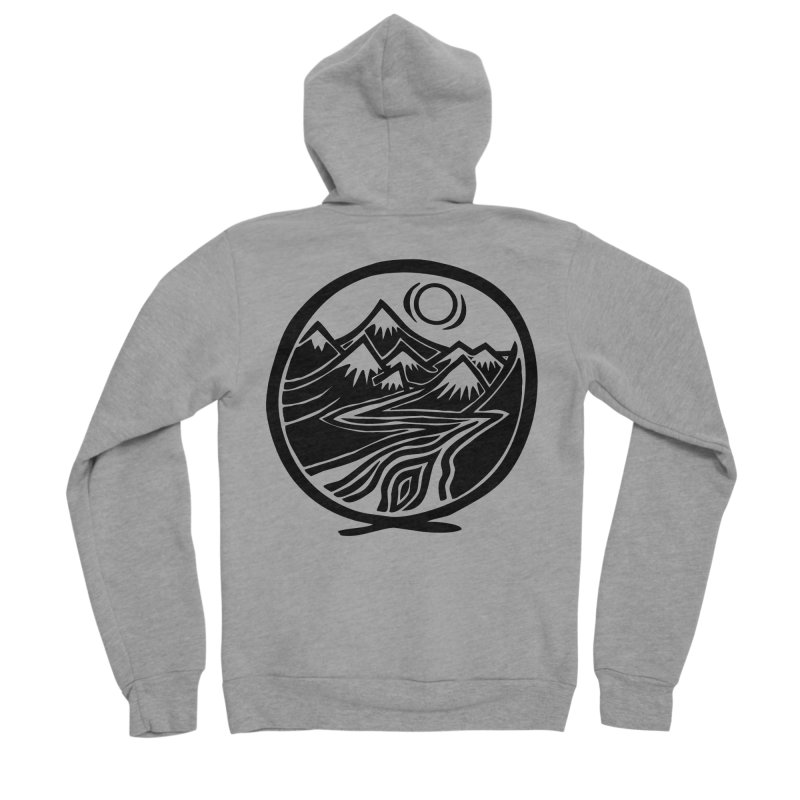 Natural Calming - Black Print Men's Sponge Fleece Zip-Up Hoody by jon cooney's print shop