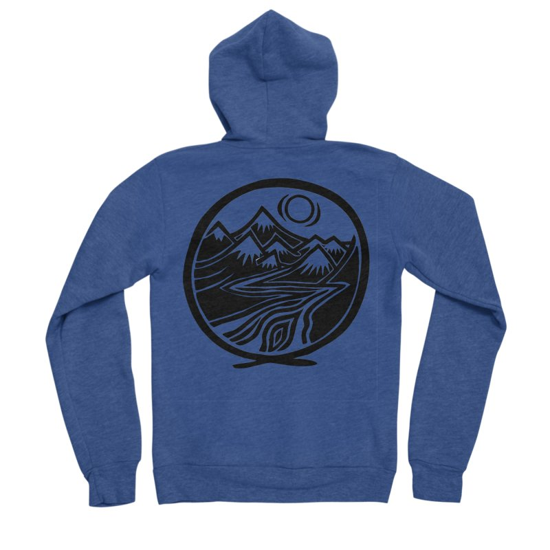 Natural Calming - Black Print Women's Sponge Fleece Zip-Up Hoody by jon cooney's print shop