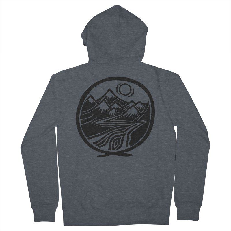 Natural Calming - Black Print Men's French Terry Zip-Up Hoody by jon cooney's print shop