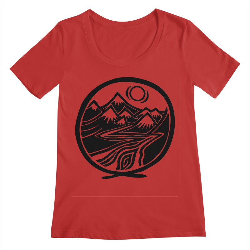 Natural Calming - Black Print Women's Regular Scoop Neck by jon cooney's print shop