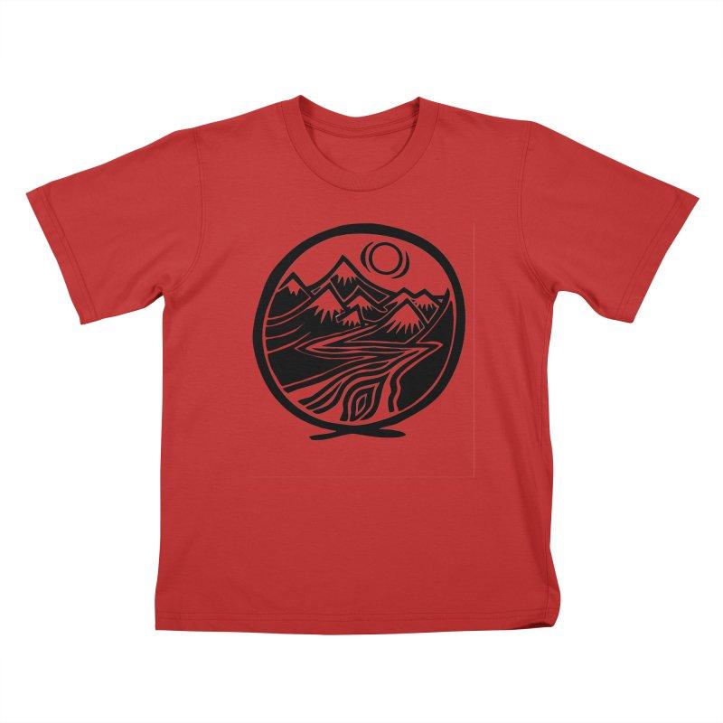 Natural Calming - Black Print Kids T-Shirt by jon cooney's print shop