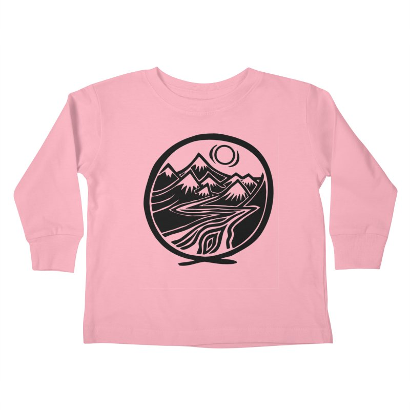 Natural Calming - Black Print Kids Toddler Longsleeve T-Shirt by jon cooney's print shop