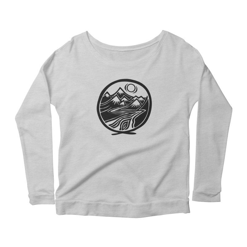 Natural Calming - Black Print Women's Scoop Neck Longsleeve T-Shirt by jon cooney's print shop