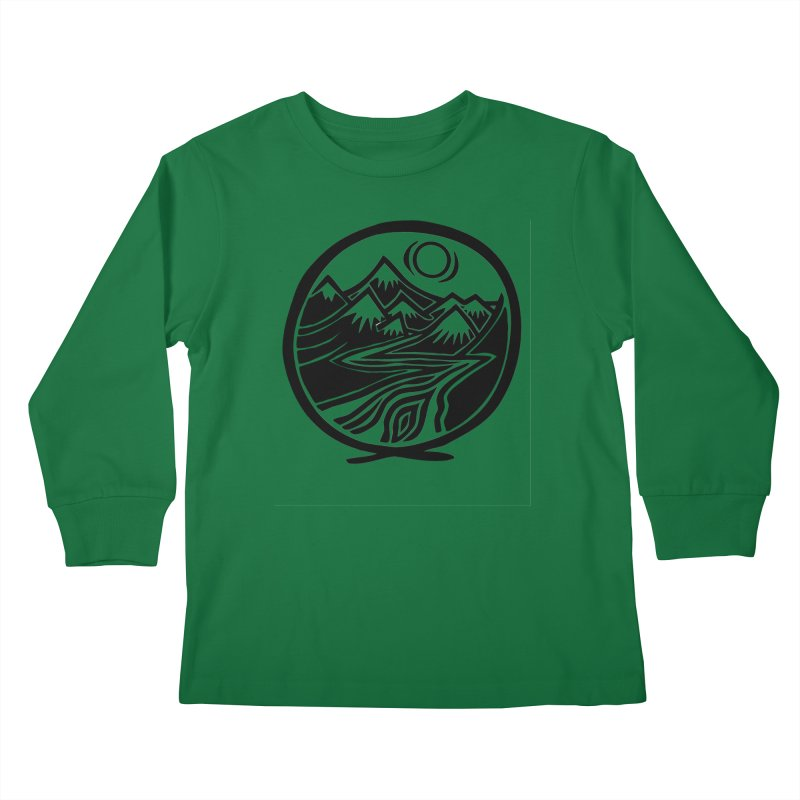 Natural Calming - Black Print Kids Longsleeve T-Shirt by jon cooney's print shop