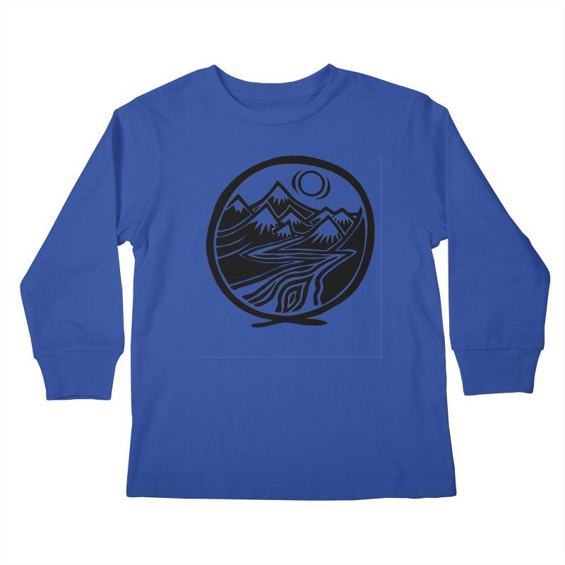 Natural Calming - Black Print Kids Longsleeve T-Shirt by jon cooney's print shop