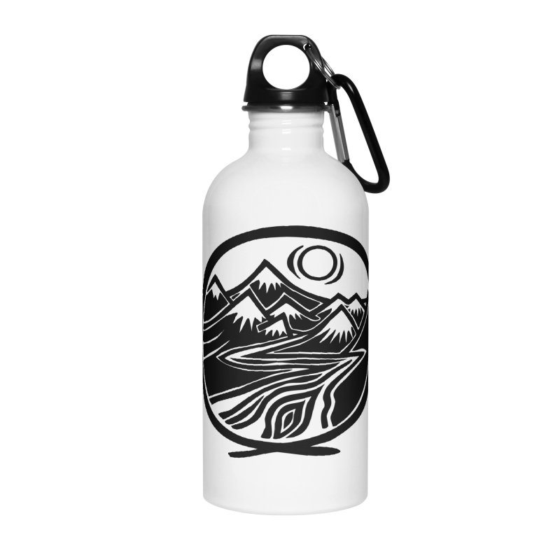Natural Calming - Black Print Accessories Water Bottle by jon cooney's print shop