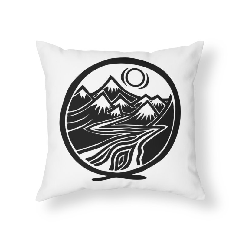 Natural Calming - Black Print Home Throw Pillow by jon cooney's print shop