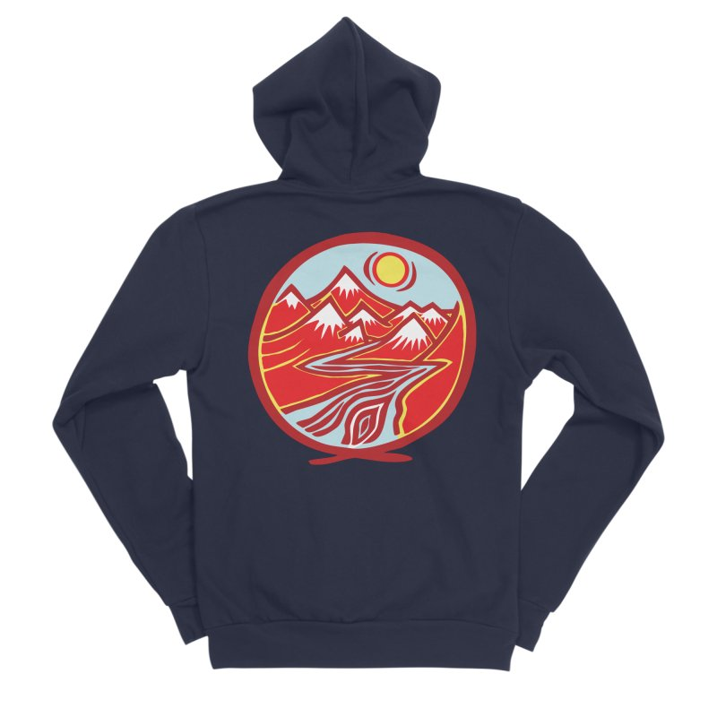 Natural Calming Multi Color Women's Sponge Fleece Zip-Up Hoody by jon cooney's print shop