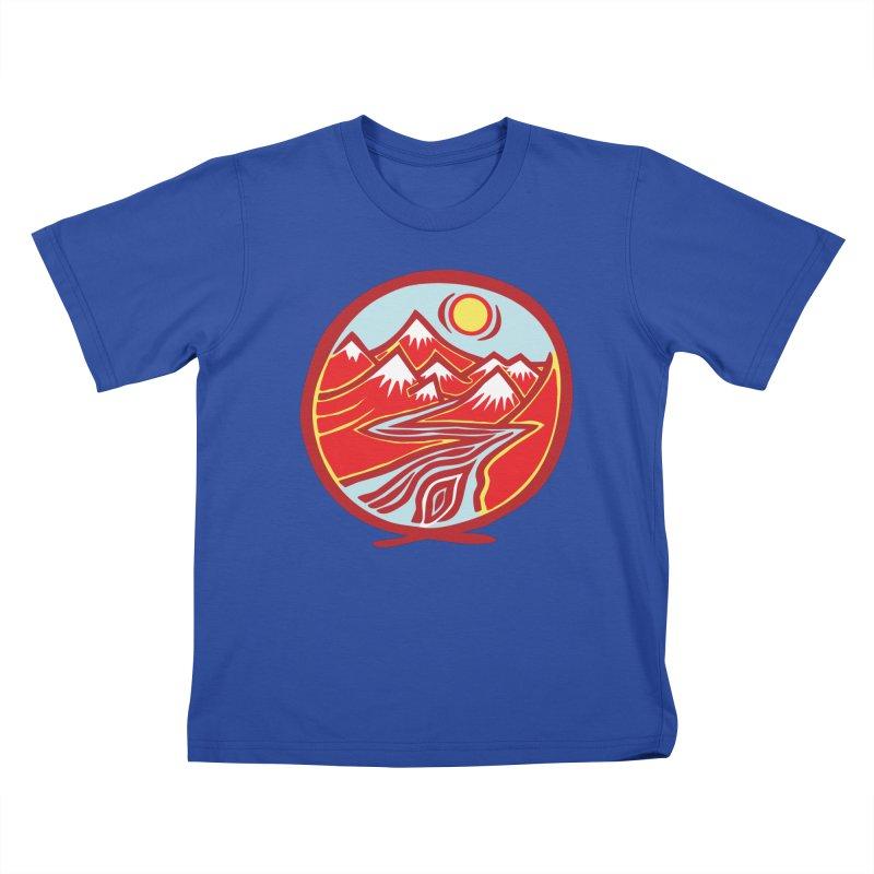 Natural Calming Multi Color Kids T-Shirt by jon cooney's print shop