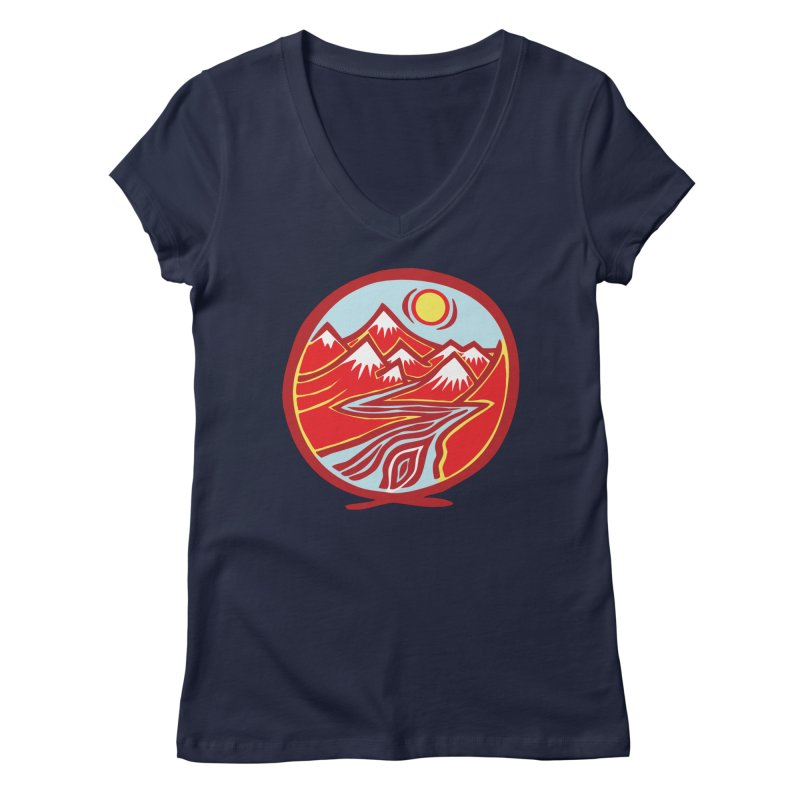 Natural Calming Multi Color Women's Regular V-Neck by jon cooney's print shop