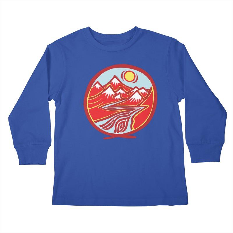 Natural Calming Multi Color Kids Longsleeve T-Shirt by jon cooney's print shop