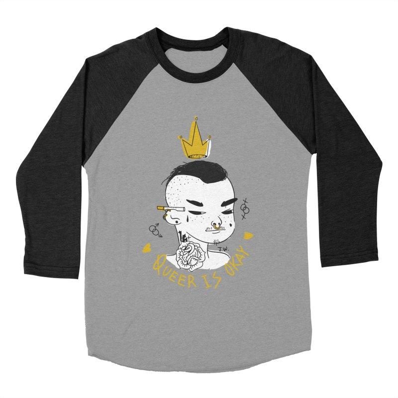 Queer is OK! Men's Baseball Triblend T-Shirt by JoniWaffle's Artist Shop