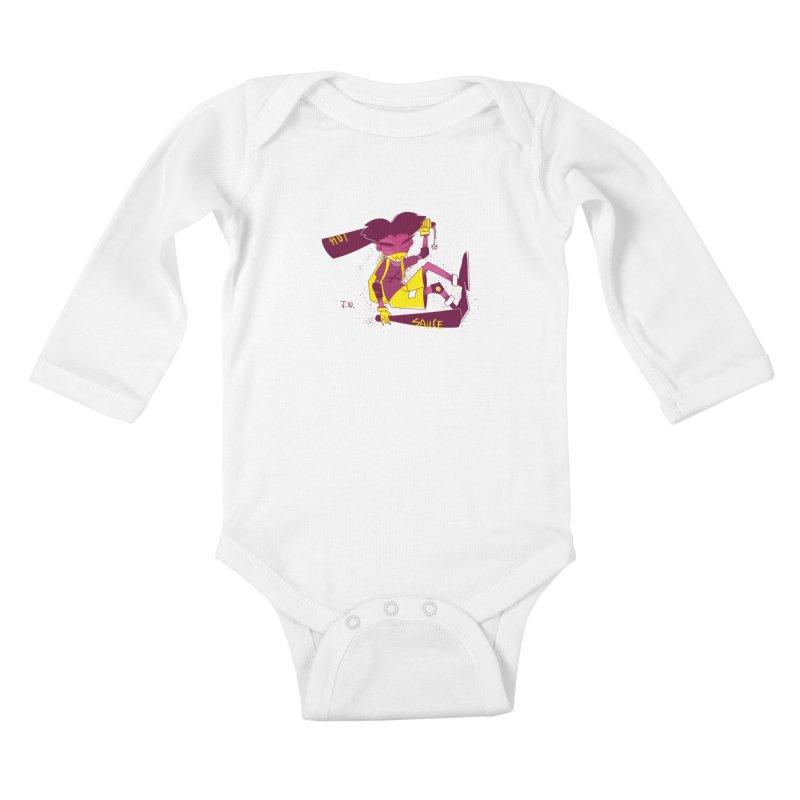 Hot Sauce Kids Baby Longsleeve Bodysuit by JoniWaffle's Artist Shop
