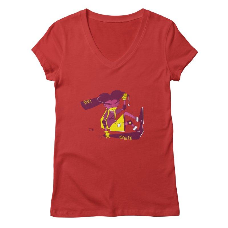 Hot Sauce Women's V-Neck by JoniWaffle's Artist Shop