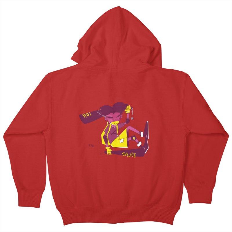 Hot Sauce Kids Zip-Up Hoody by JoniWaffle's Artist Shop