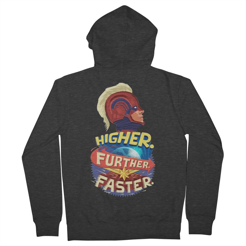 Captain Marvel Higher Further Faster Men's French Terry Zip-Up Hoody by Game Of Thrones and others Collection