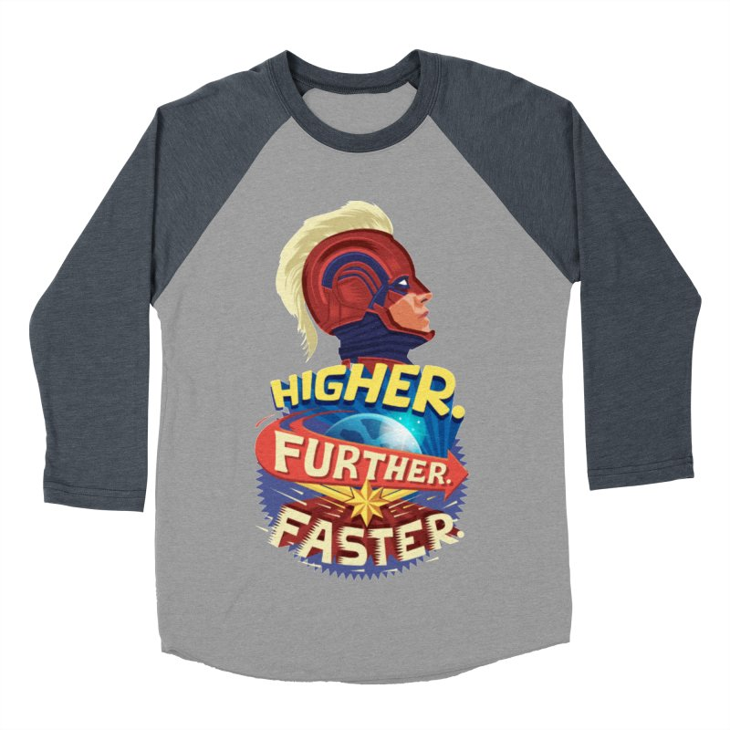 Captain Marvel Higher Further Faster Men's Baseball Triblend Longsleeve T-Shirt by Game Of Thrones and others Collection