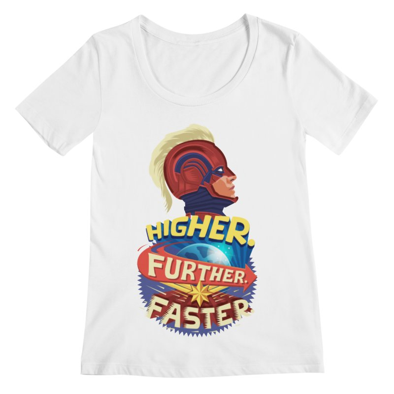 Captain Marvel Higher Further Faster Women's Regular Scoop Neck by Game Of Thrones and others Collection