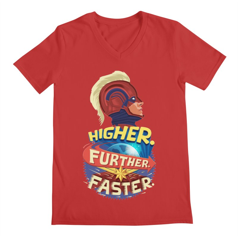 Captain Marvel Higher Further Faster Men's Regular V-Neck by Game Of Thrones and others Collection