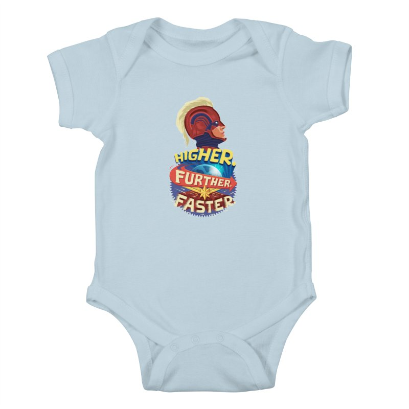 Captain Marvel Higher Further Faster Kids Baby Bodysuit by Game Of Thrones and others Collection