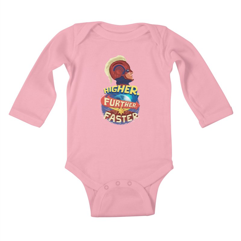 Captain Marvel Higher Further Faster Kids Baby Longsleeve Bodysuit by Game Of Thrones and others Collection