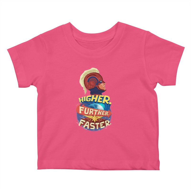 Captain Marvel Higher Further Faster Kids Baby T-Shirt by Game Of Thrones and others Collection