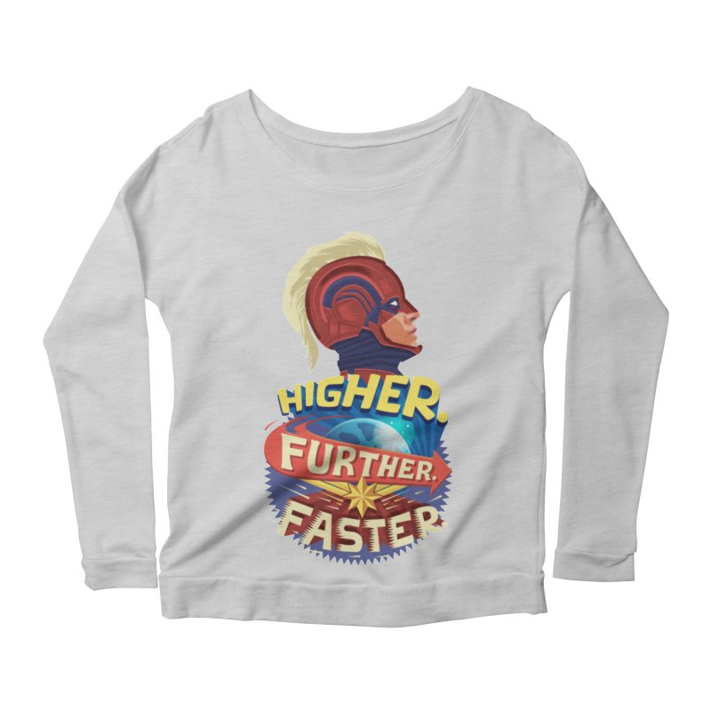 Captain Marvel Higher Further Faster Women's Scoop Neck Longsleeve T-Shirt by Game Of Thrones and others Collection