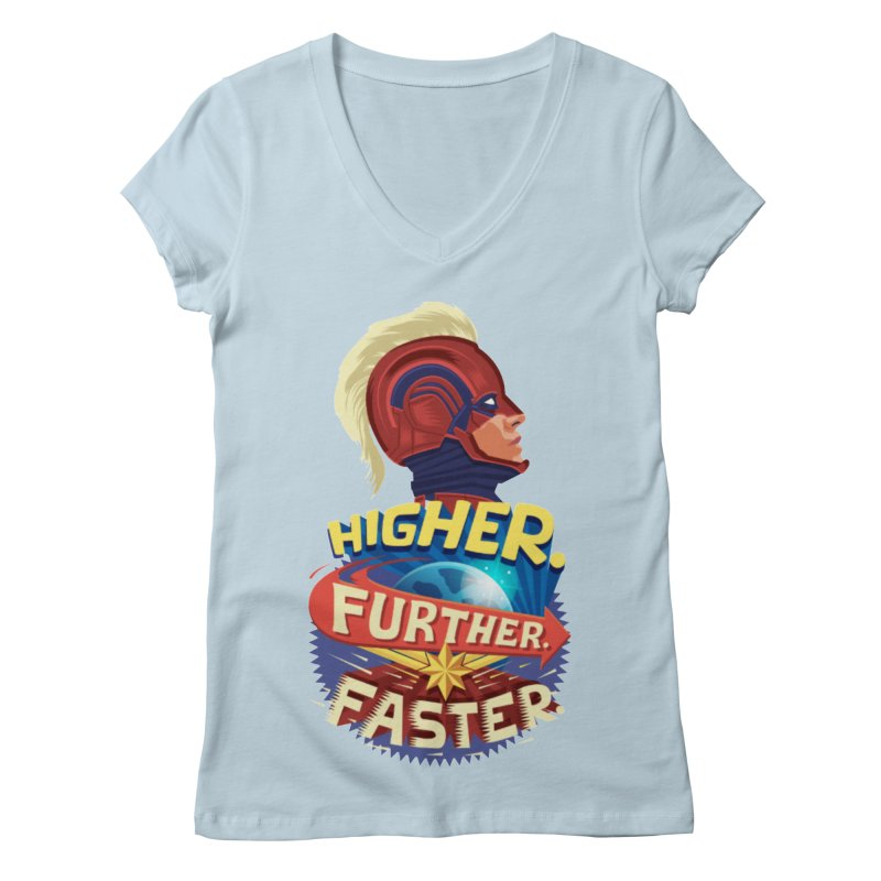 Captain Marvel Higher Further Faster Women's Regular V-Neck by Game Of Thrones and others Collection
