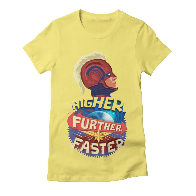 Captain Marvel Higher Further Faster Women's Fitted T-Shirt by Game Of Thrones and others Collection