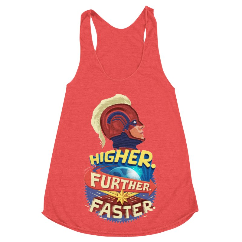 Captain Marvel Higher Further Faster Women's Racerback Triblend Tank by Game Of Thrones and others Collection