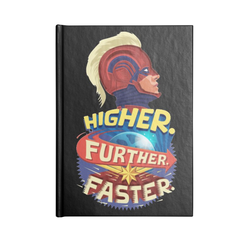 Captain Marvel Higher Further Faster Accessories Blank Journal Notebook by Game Of Thrones and others Collection