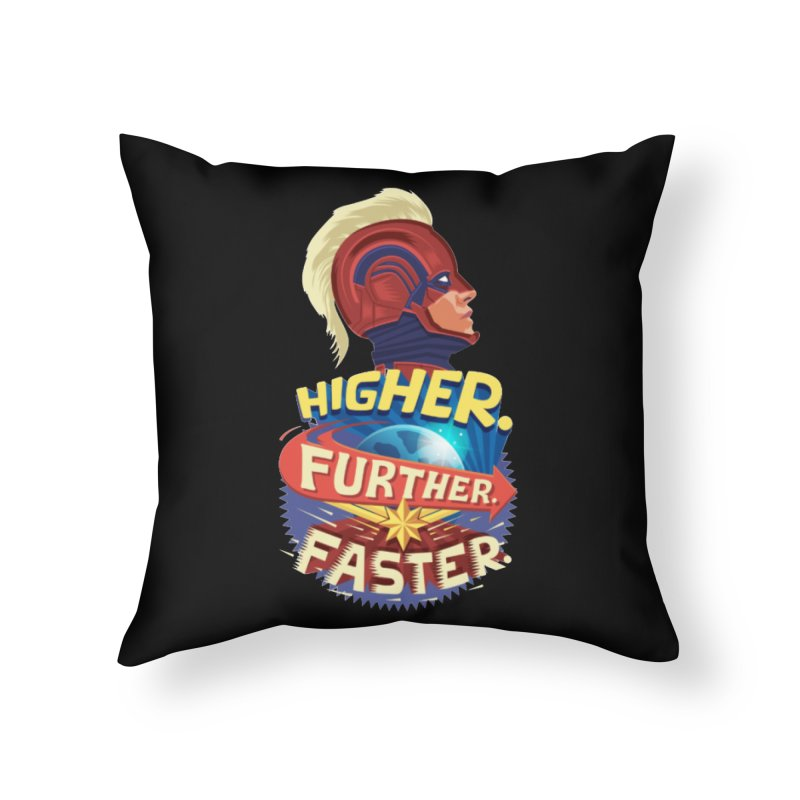 Captain Marvel Higher Further Faster Home Throw Pillow by Game Of Thrones and others Collection