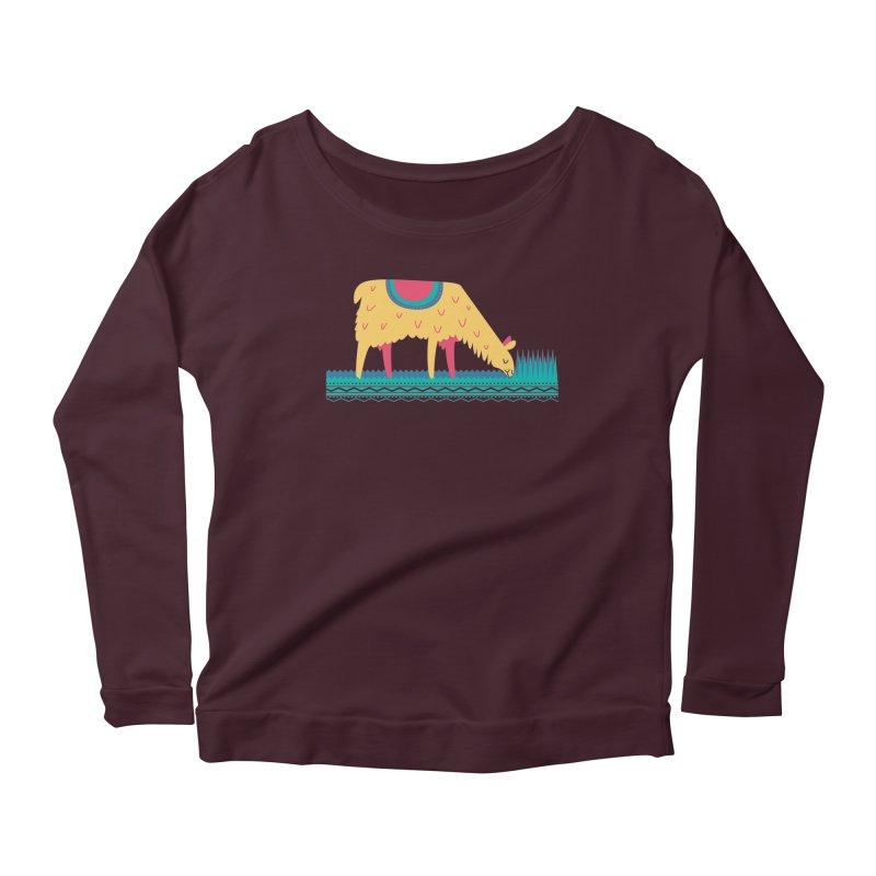 LLamamower Women's Scoop Neck Longsleeve T-Shirt by jordan's Artist Shop