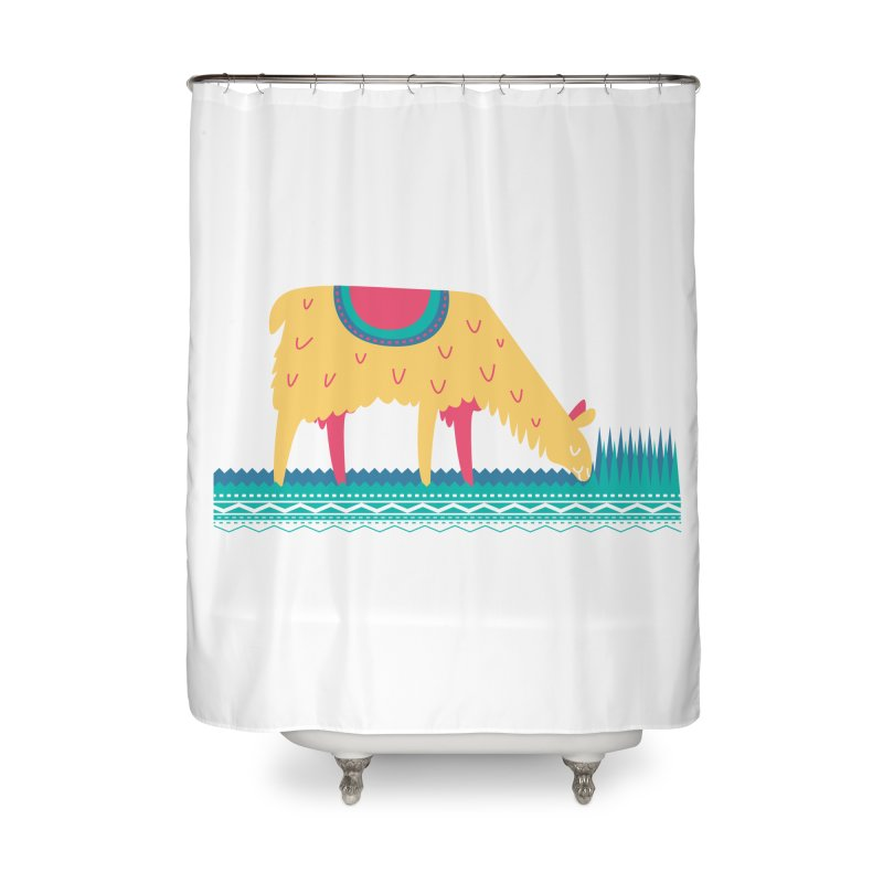 LLamamower Home Shower Curtain by jordan's Artist Shop