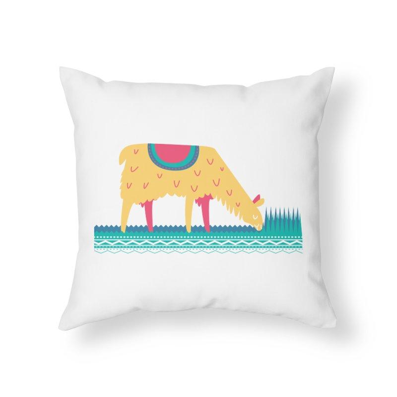 LLamamower Home Throw Pillow by jordan's Artist Shop