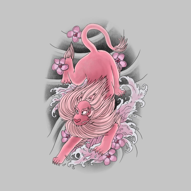 Pink Lion Kids Longsleeve T-Shirt by jordan's Artist Shop
