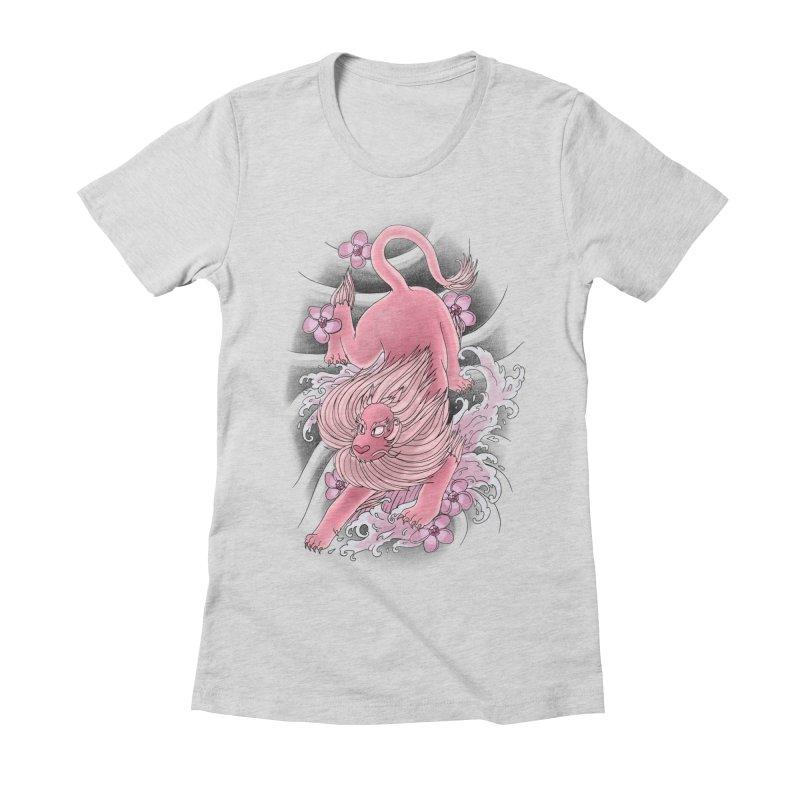 Pink Lion Women's Fitted T-Shirt by jordan's Artist Shop