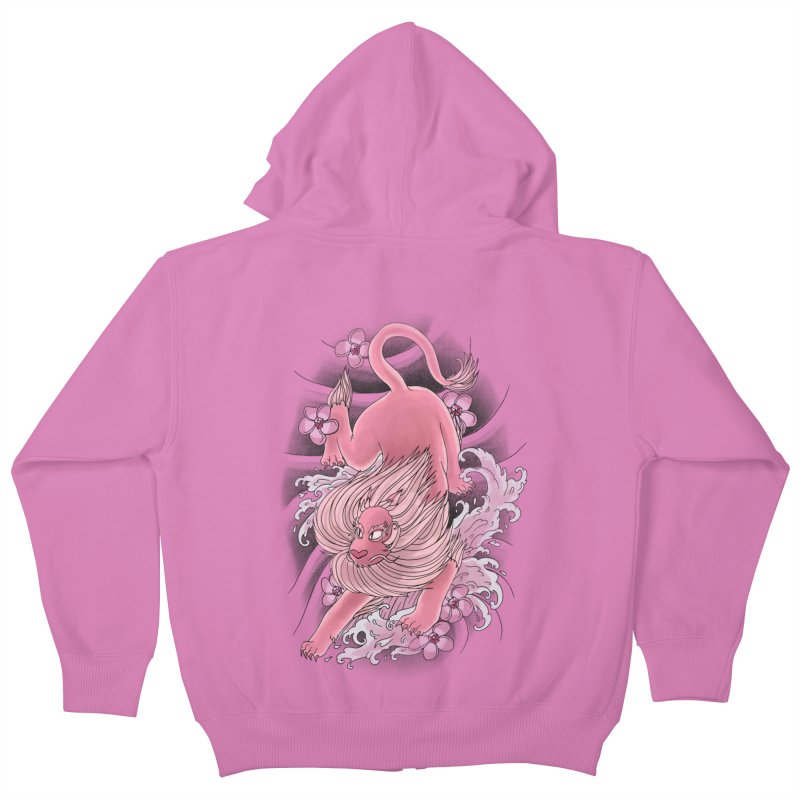 Pink Lion Kids Zip-Up Hoody by jordan's Artist Shop