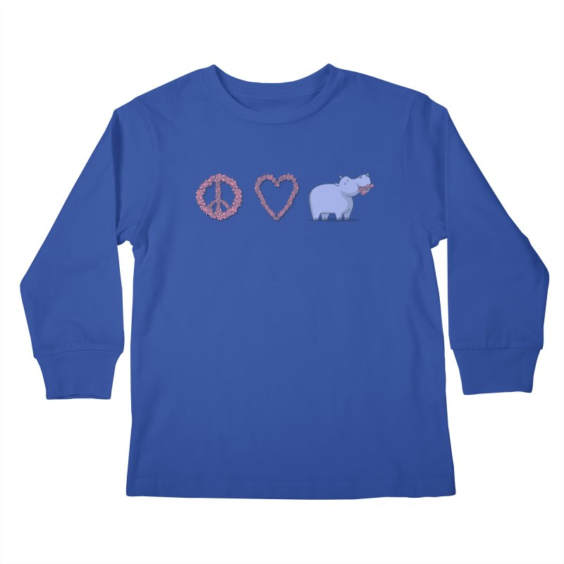 Peace, Love & Hipponess Kids Longsleeve T-Shirt by jordan's Artist Shop