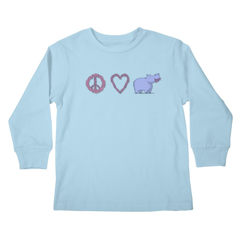 Peace, Love & Hipponess Kids Longsleeve T-Shirt by jordan's Artist Shop